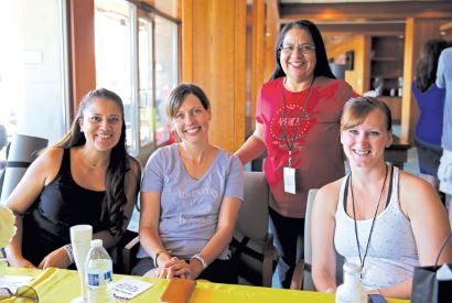Photo courtesy Dani Perry Madeline Pena (from left), Crystal Zrelak, Esmer Lopez and Sarah Gibson. The military spouses got to know each other before their day of pampering began while brunching on mimosas, pastries and coffee.