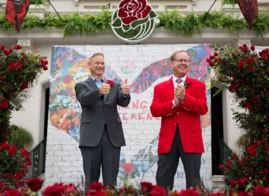 Photo courtesy Michelle Mishina Photo Tournament of Roses Grand Marshal Gary Sinise is introduced by 2018 Tournament of Roses President Lance Tibbet.