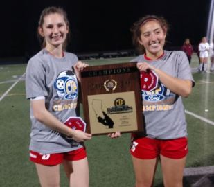 Photo by Oscar Areliz / OUTLOOK Anaise Nugent and Tatum Mediano helped La Salle defeat St. Margaret's, 4-2, in a penalty kick shootout to capture the CIF-SS Division 4 title.