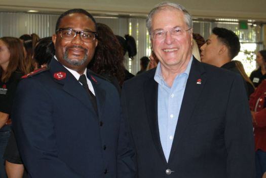 Salvation Army Capt. Terry Masango and Mayor Terry Tornek took part in Homeless Connect Day and spoke of the partnership of the city and nonprofit to help curb local homelessness.