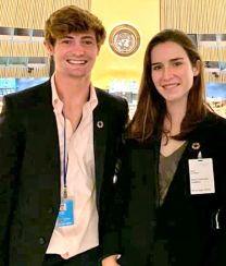 "Photo courtesy Polytechnic School As Polytechnic seniors, Alec Walsh and Rory Xanders visited the United Nations General Assembly Room during their visit to present the catalog ""Invest Yourself: Pasadena."""
