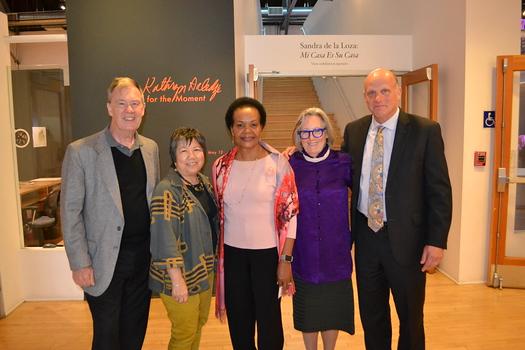 PCC Board of Trustees members Hoyt Hilsman, Linda Wah, Berlinda Brown and Jim Osterling with featured artist Sigrid Burton.