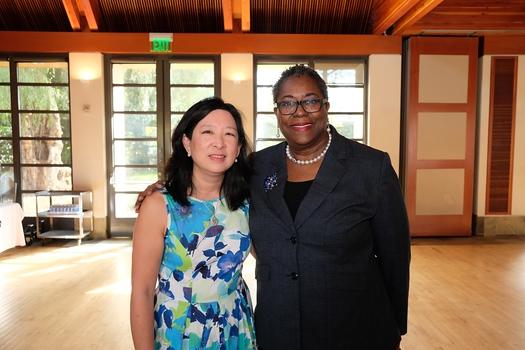 San Marino National Charity League President Christine Chin and Pasadena Senior Center Executive Director Akila Gibbs