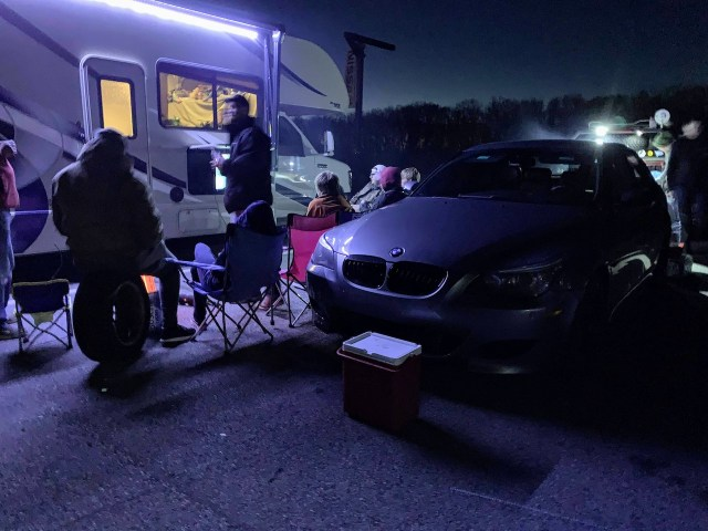VIR paddock at night with RV and BMW M5