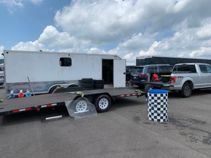 Toyota Sequoia at Pitt Race with trailers