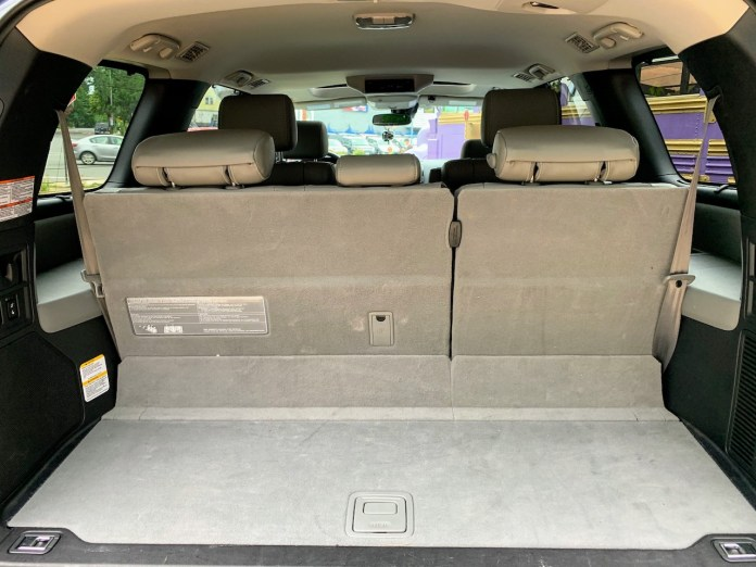 2019 Toyota Sequoia gray interior third row raised