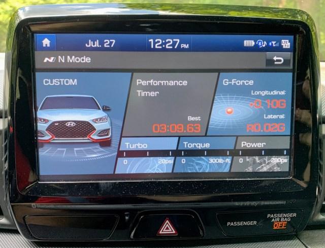 2019 Hyundai Veloster N N Mode screen