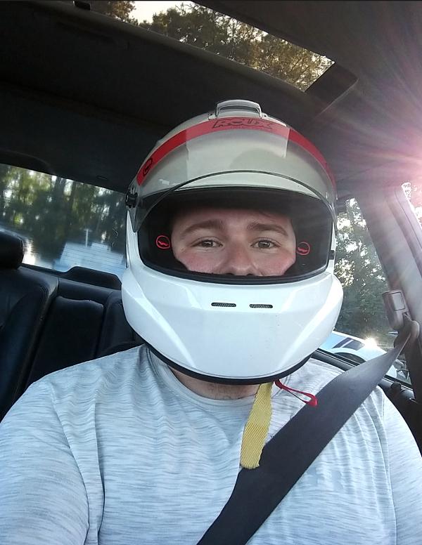 Dillon wearing helmet
