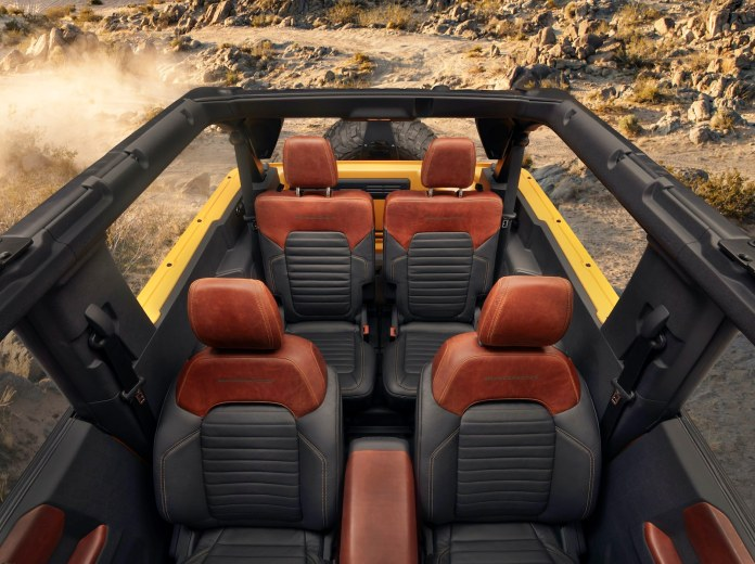 2021 Ford Bronco interior roof removed
