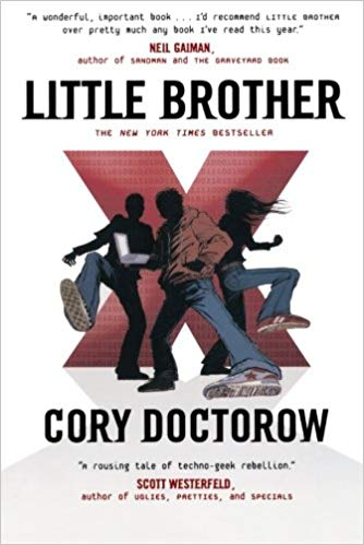 The cover of science fiction book Little Brother by Cory Doctorow.