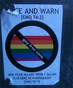 Man arrested over anti-gay stickers