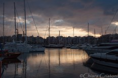 Piraeus marina at sunset