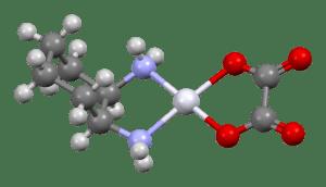 Ball and stick model of an Oxaliplatin Molecule C8H14N2O4Pt