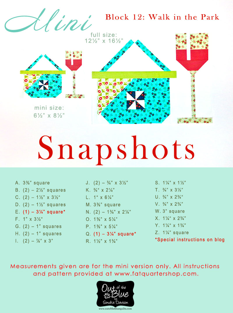 Snapshots Quilt-Along Mini Quilt Block 12 Pattern│Out of the Blue Quilts