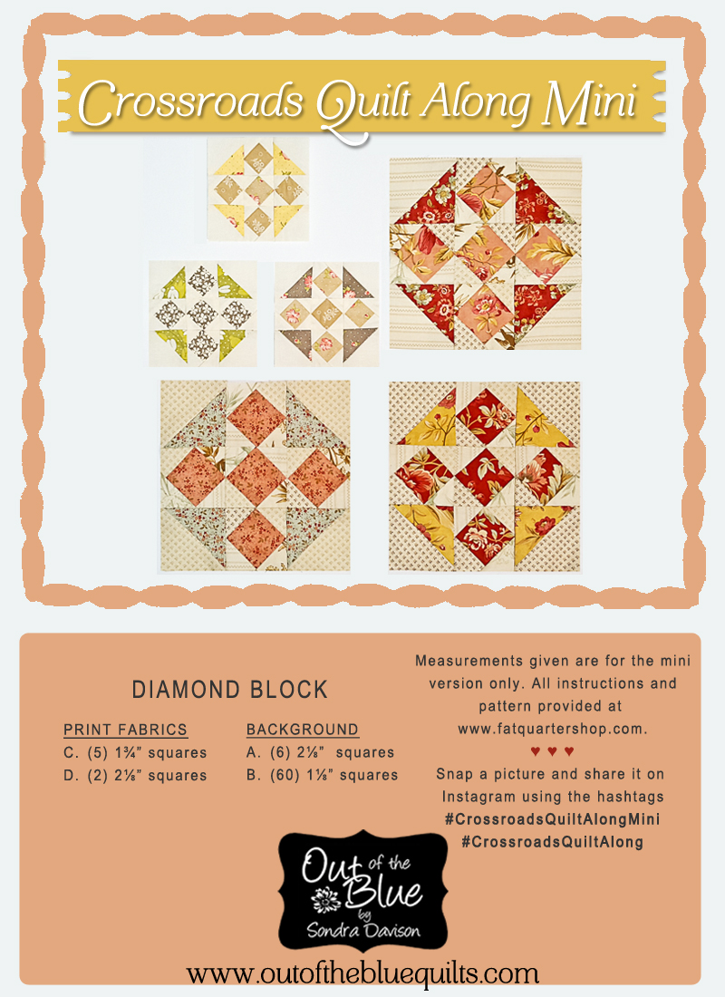 Crossroads Quilt Along Diamond Block │ Out of the Blue Quilts by Sondra Davison