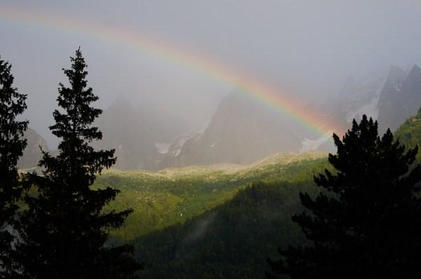Rainbow in Chamonix Alps