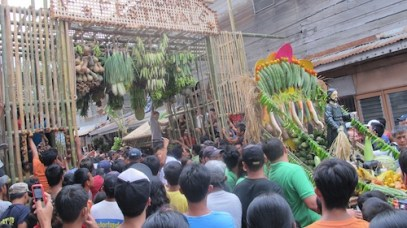 Once the image of San Isidro had passed by, the aranas of agricultural crops are loosened down for everyone to grab