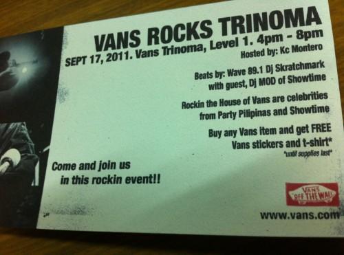 Vans rocks trinoma this september out of town blog vans rocks trinoma mall stopboris Gallery