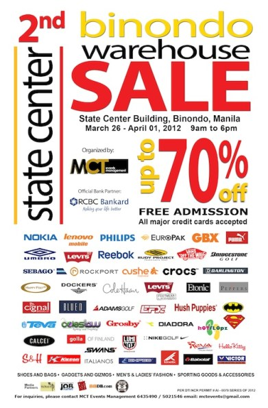 2nd Binondo Warehouse Sale at the State Center