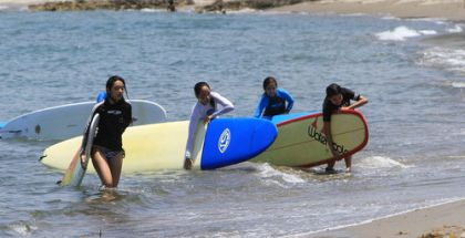 Participants of the Billabong all girls surf camp