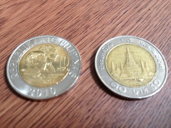10 Peso and Thai Baht coins
