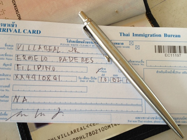 Thai Immigration Form