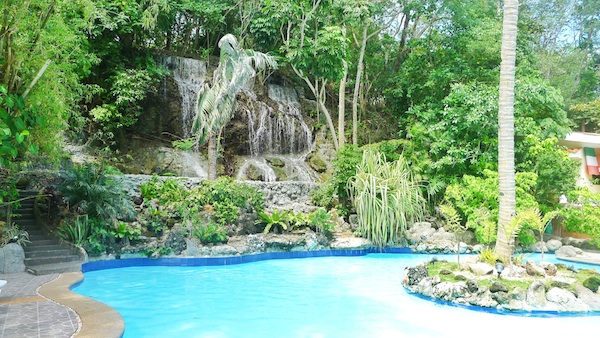 Natural Water Falls near the Poolside