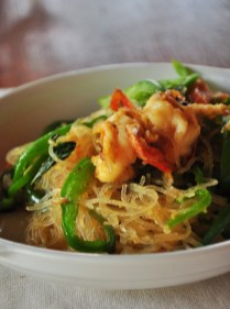 Asian Rice Noodles with Prawns