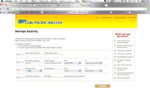 Cebu Pacific Web Check-in Service