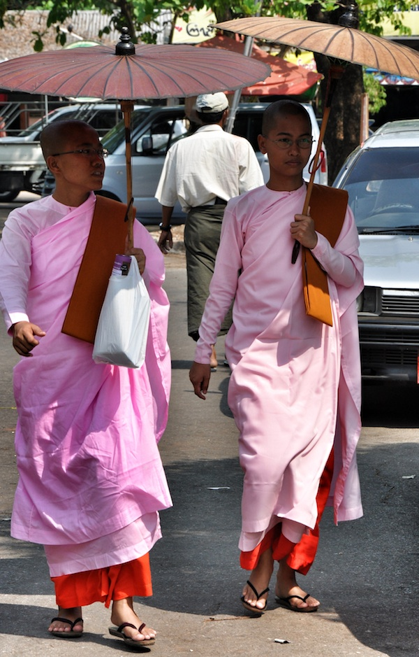 Female Monks outside the Temple
