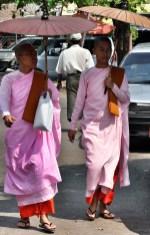 Female Monks outside the Temple