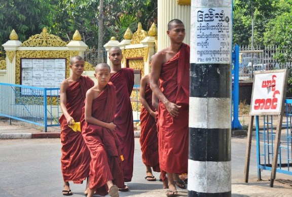 Monks in Kabar Aye Pagoda in Yangon