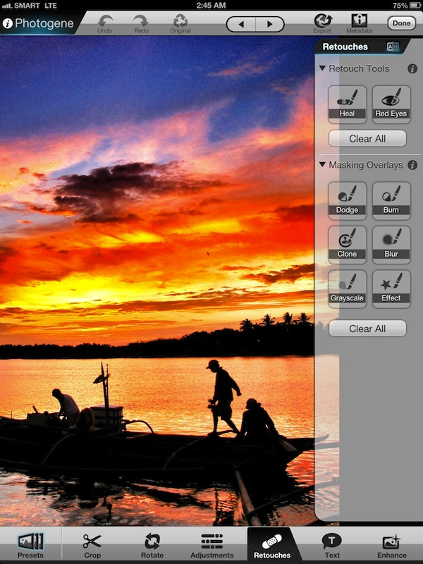 Editing photos using Photogene App