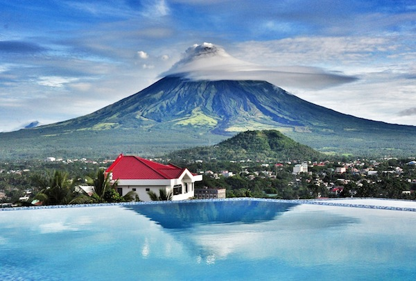 View of Mayon Volcano at The Oriental Hotel's Infinity Pool