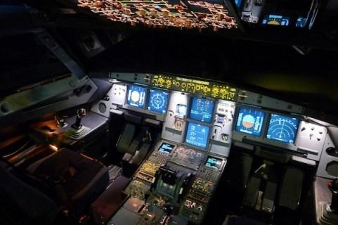 Airbus A320 flight deck at night