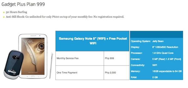 Samsung Galaxy Note 8 Gadget Plus Plan 999