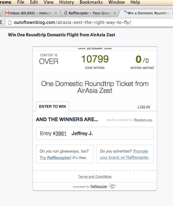 One RT Domestic Flight Ticket Winner