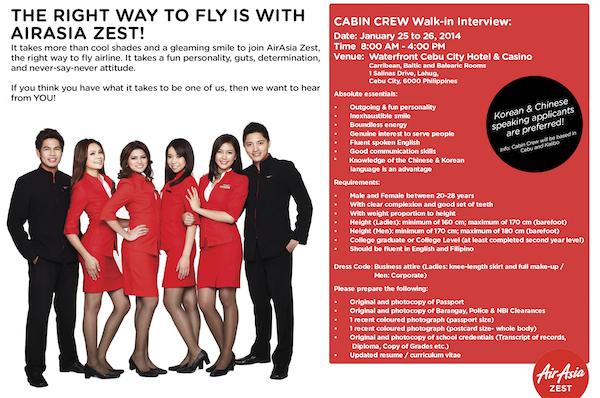 AirAsia Zest Cabin Crew recruitment in Cebu