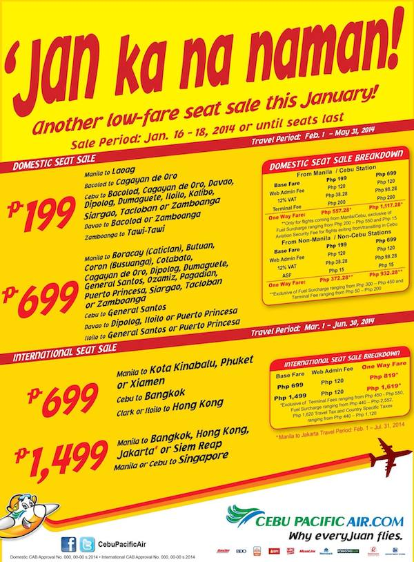 Cebu Pacific January 2014 Seat Sale