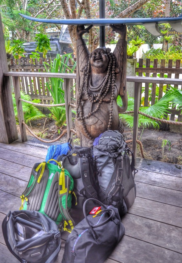 Our Bags beside the Surfing Buddha