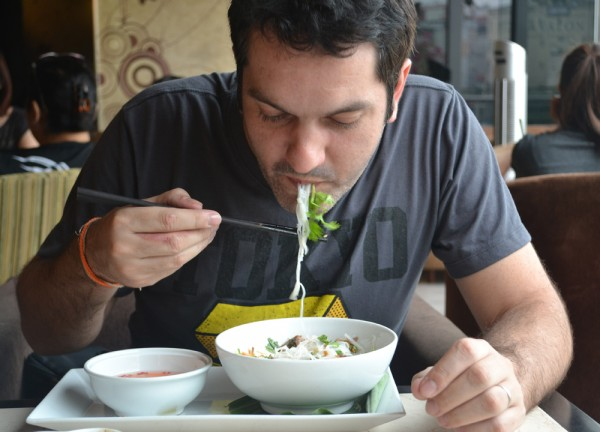 Allan enjoying Vietnamese Noodles