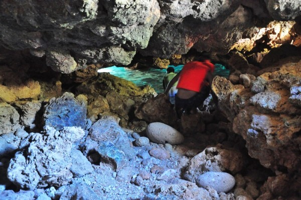 Everyone has to crawl just to get inside the cave