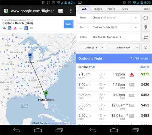 Google Flight Search Android App