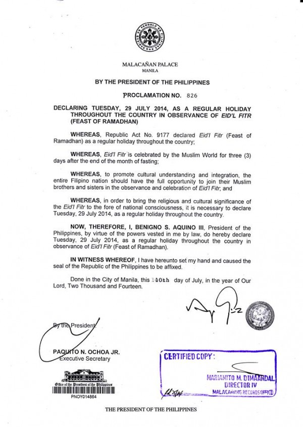 Proclamation 826 End of Ramadan is a National Holiday