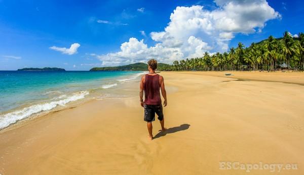 Wandering a deserted beach around El Nido, Palawan