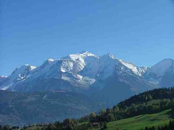 Mont Blanc, the highest mountain in the Alps, view from the Savoy side (photo courtesy of Wikipedia)