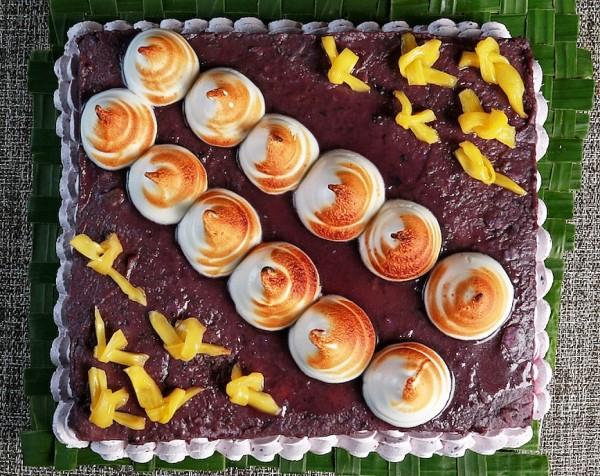 Ube Cheesecake with Fresh Tinumbaga Langka (Purple Yam Cheesecake with Fresh Jackfruit Meat)
