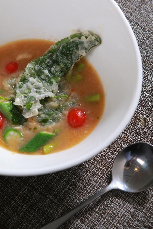 Pork Sinigang in Gabi Puree Topped with Crispy Kangkong