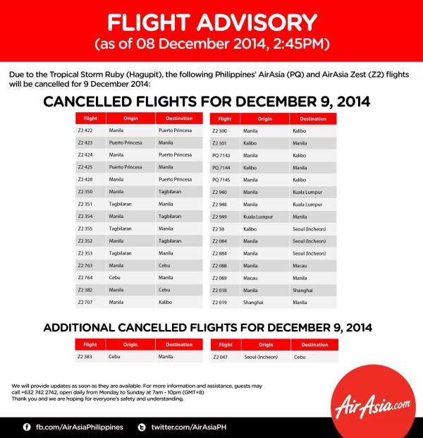 AirAsia Philippines Cancelled Flights for December 9, 2014