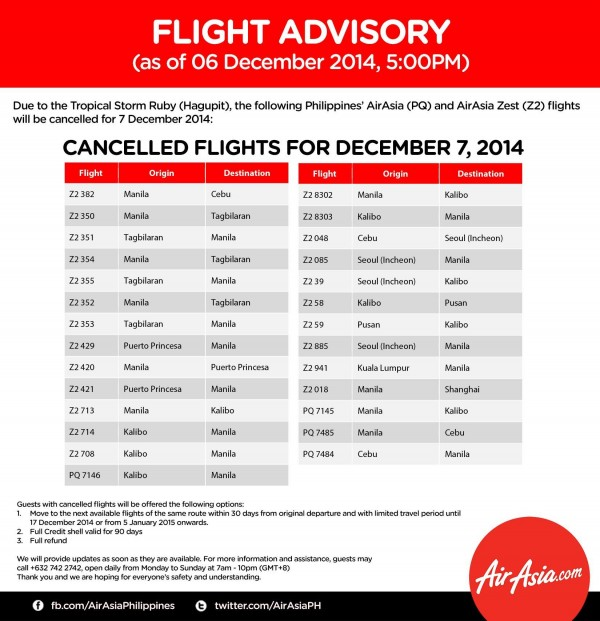 AirAsia Typhoon Ruby Updates